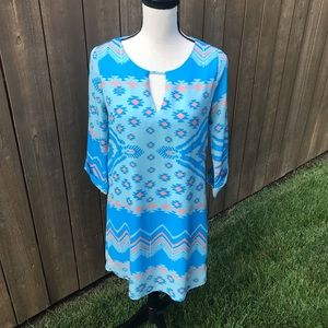 Everly Tribal Aztec Blue and Peach Shift Dress